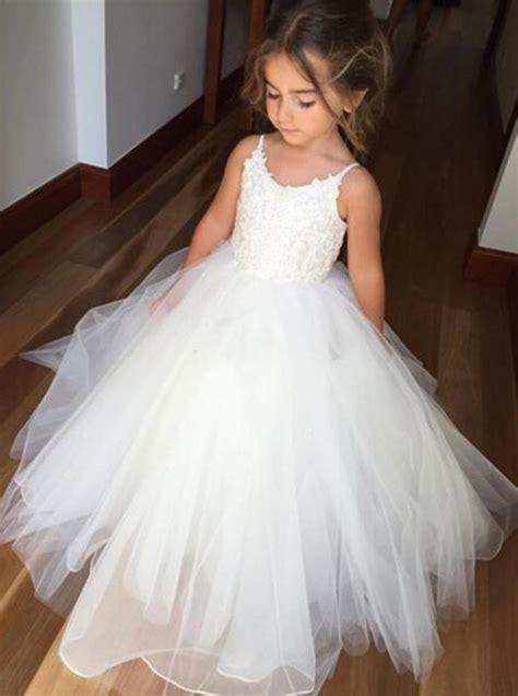 Spaghetti Tulle Dress gown spaghetti straps ivory tulle flower dress