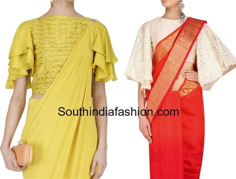 Ruffled Sleeve Blouse bell sleeves and ruffle sleeves blouse designs for sarees