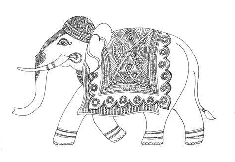 coloring pages indian elephant drawn elephant decorated elephant pencil and in color