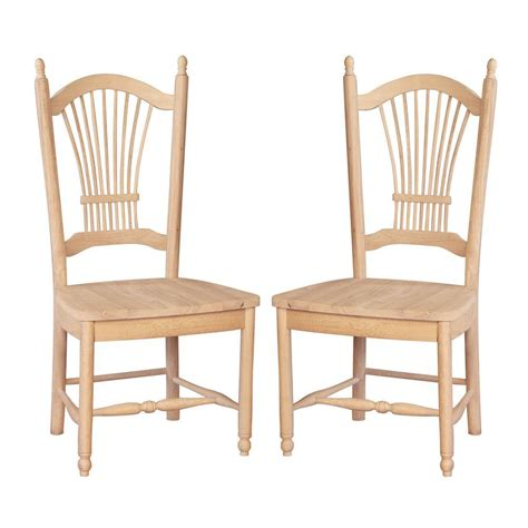 Wood Dining Chairs Unfinished International Concept Sheaf Back Solid Wood Dining Chair Unfinished Set Of 2 Ebay