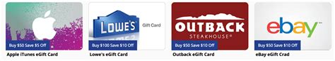 Ebay Electronic Gift Card - giftcardmall save 20 on outback e gift cards 10 on lowe s and itunes ebay sold