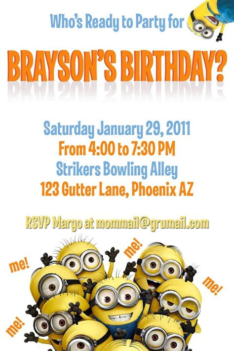 minion invitations templates cloudinvitation