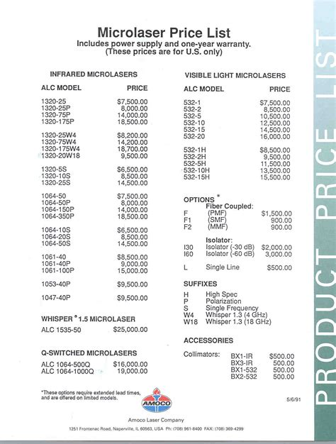 cleaning price list template vintage lasers and accessories brochures and manuals