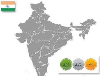 In India States Map Vector India Map Editable