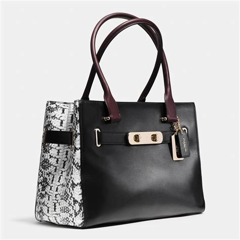 Coach Swagger 27 In Smooth Leather Black lyst coach swagger color blocked tote in black