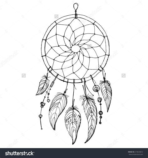 dream catcher tattoo vector stock vector dreamcatcher feathers and beads native
