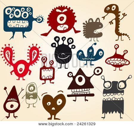 many doodle monsters images many doodle monsters vector photo bigstock
