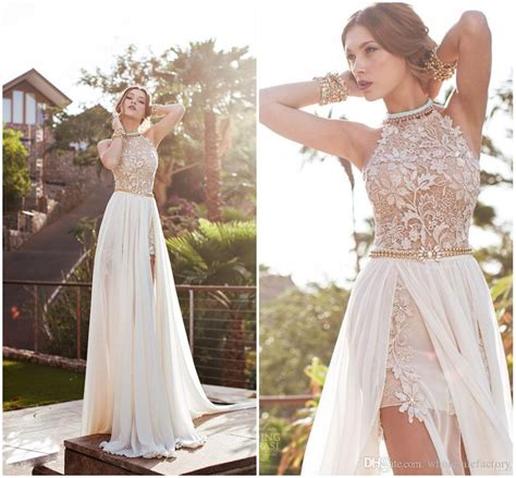 2016 Hot Real Image White Ivory Color Prom Dresses Halter