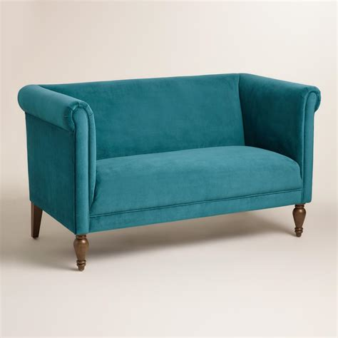 turquoise loveseat pacific blue velvet marian loveseat everything turquoise