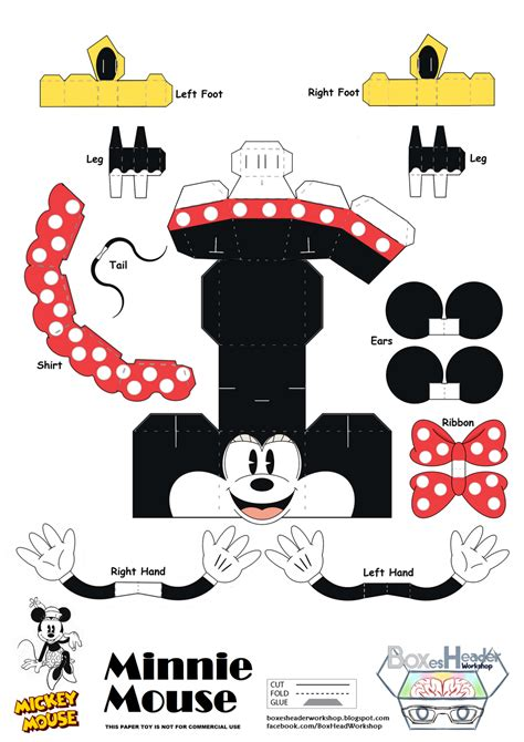 Mickey Mouse Papercraft - boxes header workshop mickey and minnie mouse