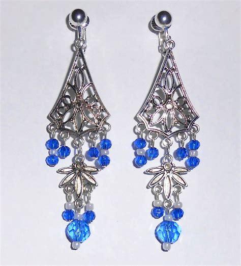 blue bead chandelier sapphire blue tones beaded chandelier dangles clip on