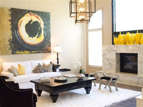 black and yellow living room photo page hgtv
