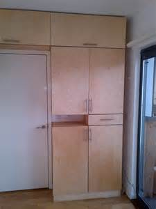 birch ply cabinetry right side of room