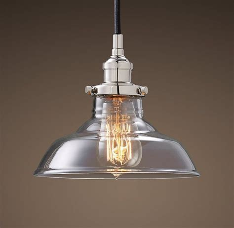 restoration hardware kitchen lighting glass barn filament pendant polished nickel light from