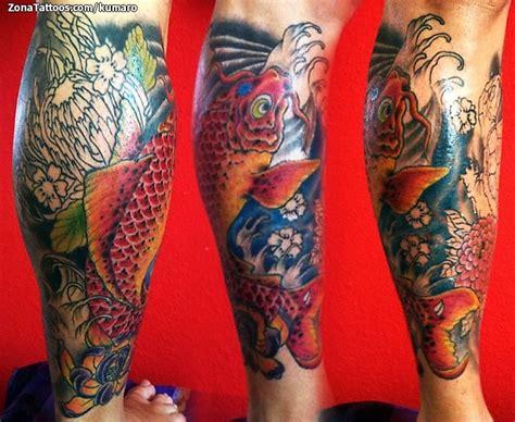 tattoo pez koi pierna tatuaje de koi peces orientales