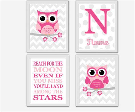 owl baby nursery wall pink gray from