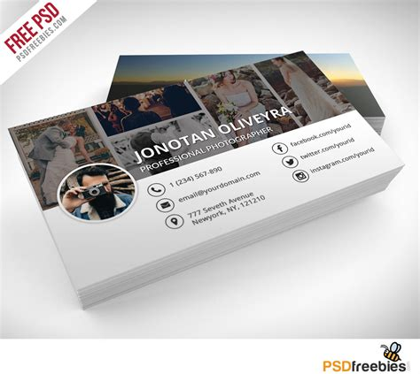 cards photoshop template professional photographer business card psd template