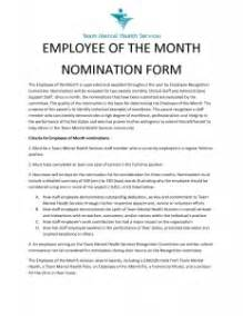 employee of the month nomination form template employee of the month nomination letter the letter sle