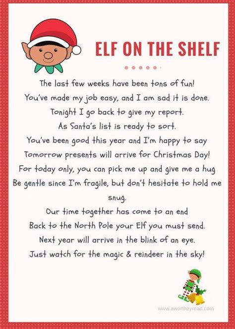 printable elf on the shelf return letter elf on the shelf printable goodby letter elf on the