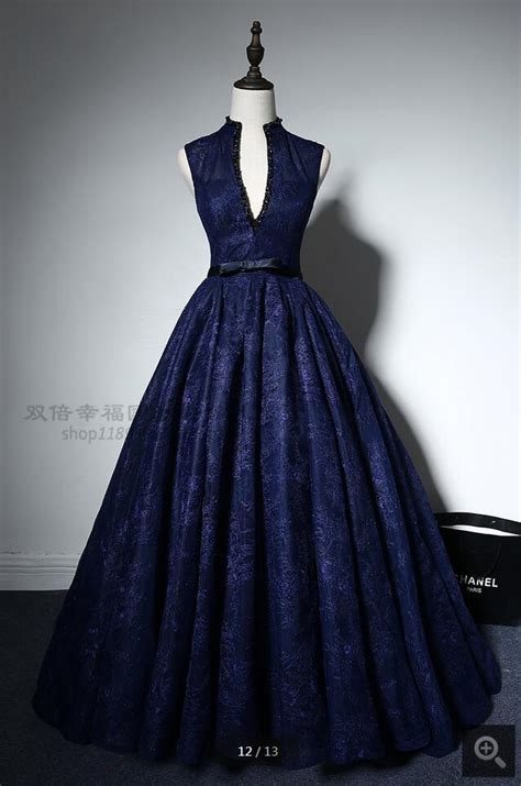Dress Prema Navy Hs real picture gown navy blue lace high neck prom dress princess beading sheer back