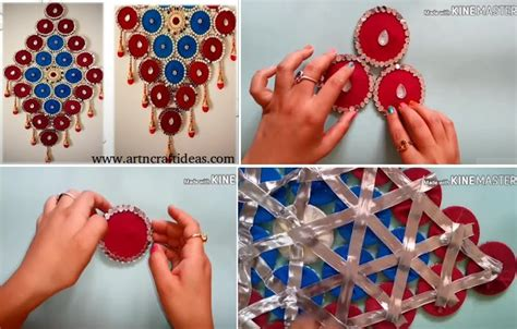 How To Make Wall Hanging From Old Bangles And Cloth Art