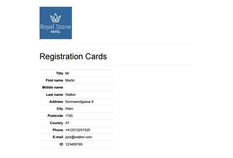 Hotel Registration Card Template Software by Front Desk Software That Makes Guest Service Outstanding
