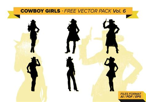 cowgirl silhouette vector free download two beautiful cowboy girls silhouette free vector pack vol 6 download