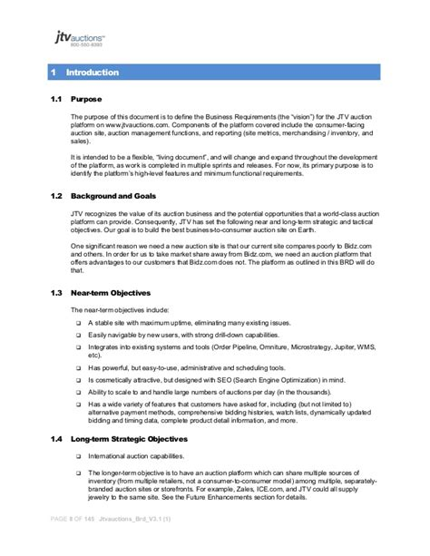 requirements document template business requirements document template project manager