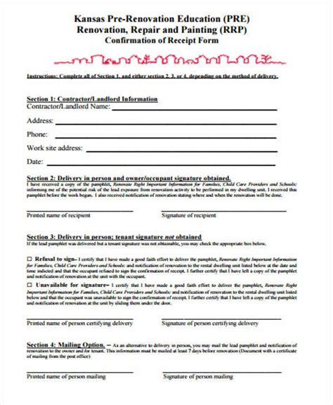 contractor receipt templates  sample  format