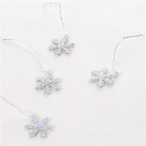 mini silver glitter snowflake ornaments christmas
