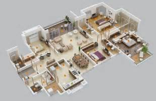 Apartment Layout Ideas by 50 Four 4 Bedroom Apartment House Plans Architecture
