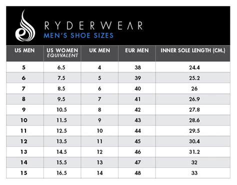 shoe size chart y ryder wear d mak raptor lifting shoe cork jymlocker