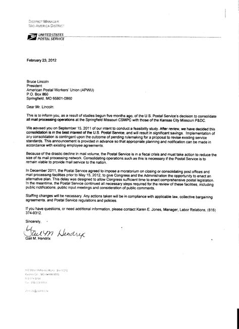 Letter Usps Letter Received From Gail Usps
