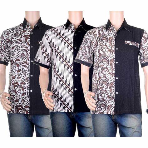 5 Motif Kemeja Pria Kombinasi Batik Cap Hitam Putih Elegan baju atasan pria kemeja hem batik kombinasi embos