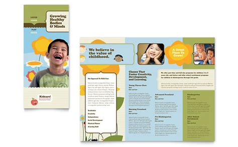 educational handout template child development school tri fold brochure template design