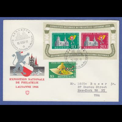 Brief Schweiz Nach Usa schweiz 1955 lausanne block mi nr block 15 auf brief