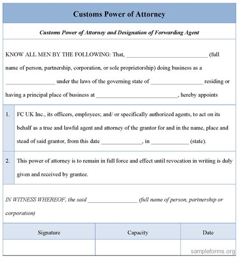 Customs Power Of Attorney Template customs power of attorney form sle customs power of