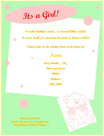 Free Printable Baby Shower Invitations For Microsoft 174 Word Free Shower Invitations Templates