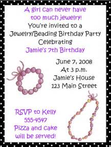 jewelrybeading birthday invitations
