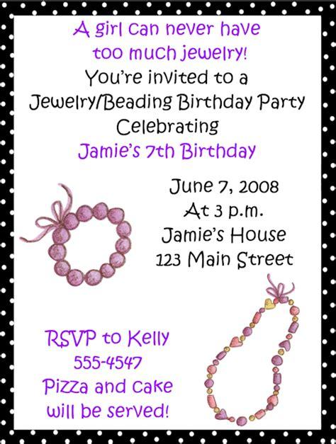 jewelry invitation template jewelrybeading birthday invitations
