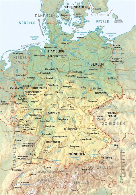 Wall Height physical map of germany regio