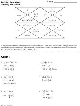 Function Operations Worksheet Answers by Function Operations Coloring Worksheet By Mrs E Teaches