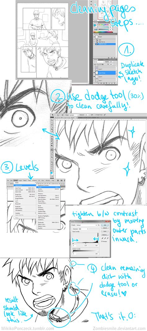 tutorial photoshop deviantart sketch to inks tutorial photoshop by zombiesmile on