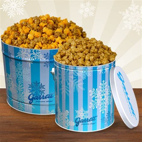 Garret Popcorn Signature Small signature snowflake tin what s popping at garrett popcorn shops 174 snowflakes and