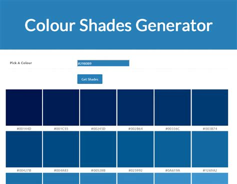 shades of blue color names calculate different shades of a colour paulund