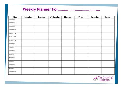 Weekly Schedule Template Monday Friday With Times Cortezcolorado Net Schedule Planner Template