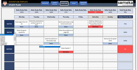 Student Lesson Plan Template Free Study Plan Template In Excel Plan Exle For Students