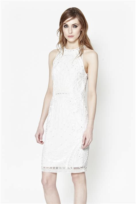Cage Dress connection pearl embellished cage dress in white lyst