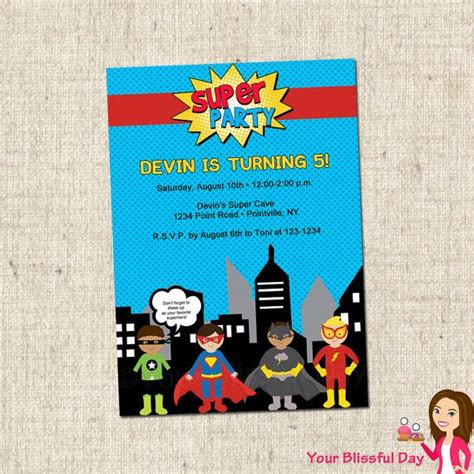 printable birthday invitations superhero printable superhero party invitations