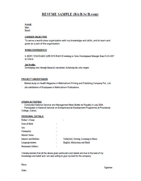 resume format for management students freshers 16 resume templates for freshers pdf doc free premium templates